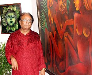 Jahar Dasgupta - Dasgupta in front of his solo exhibition at Academy of Fine Arts, Kolkata 2006