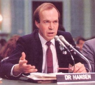 History of climate change science - James Hansen during his 1988 testimony to Congress, which alerted the public to the dangers of global warming.