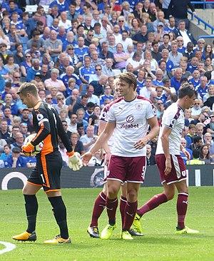 James Tarkowski - Tarkowski (centre) playing for Burnley in 2017