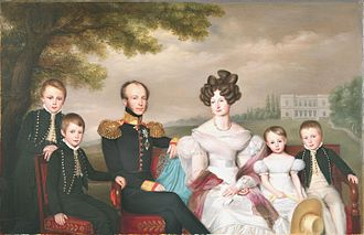 William III of the Netherlands - King William II and his family (1832) by Jan Baptist van der Hulst with William III on the far left