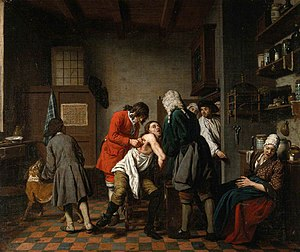 Jan Josef Horemans the Elder - Interior with a Surgeon and His Apprentice Attending to a Patient