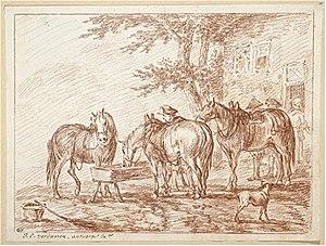 Jan Peeter Verdussen - Three peasants leaving their horses to go to the hostel