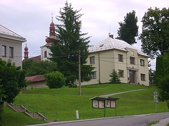 Javornice - Municipal office and the Church of Saint George