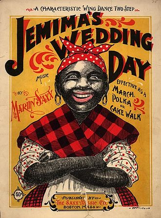 "Aunt Jemima - ""Jemima"" character on 1899 cakewalk sheet music cover"