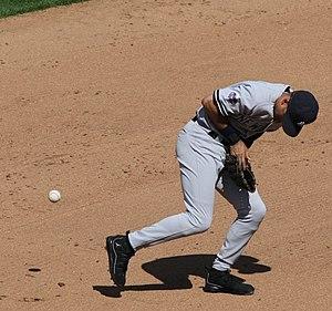 Error (baseball) - New York Yankees infielder Derek Jeter makes a fielding error at shortstop.