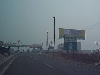 Jinbin Expressway road in Tianjin, China