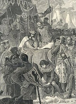 John of England signs Magna Carta. Illustration from Cassell's History of England (1902)