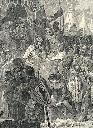 English feudal barony - King John signs Magna Carta at Runnymede in 1215, surrounded by his baronage. Illustration from Cassell's History of England, 1902.