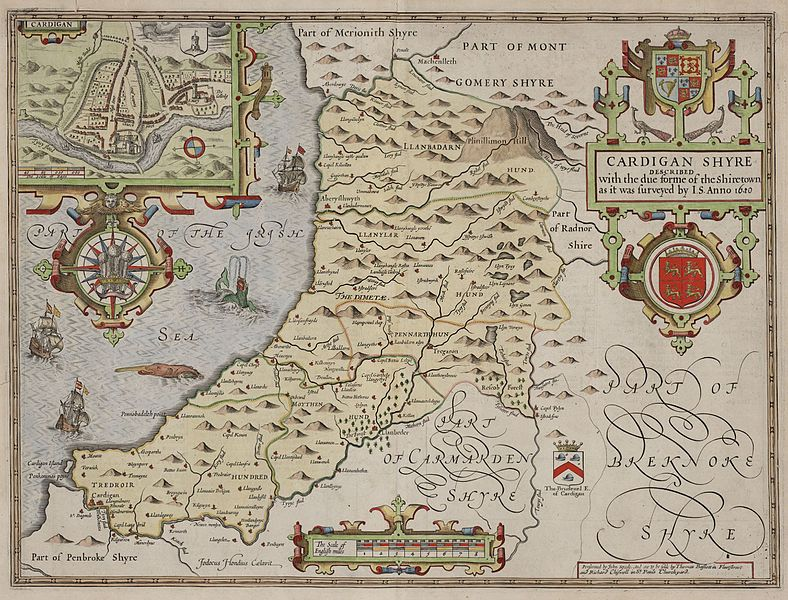 John Speeds County maps of Wales for first published in The Theatre of the Empire of Great Britain by George Humble. Date 1610