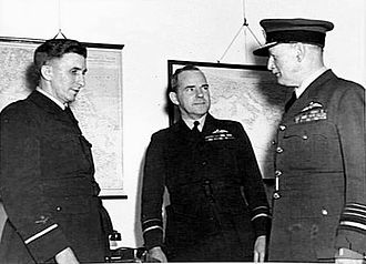 Charles Burnett (RAF officer) - Burnett (right) with his replacement as RAAF CAS, AVM George Jones (left), and AVM William Bostock (centre), May 1942