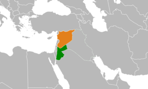 Jordanian intervention in the Syrian Civil War - Jordan in Green and Syria in Orange.