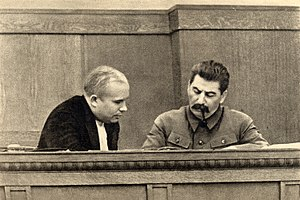 Joseph Stalin and Nikita Khrushchev, January 1936.