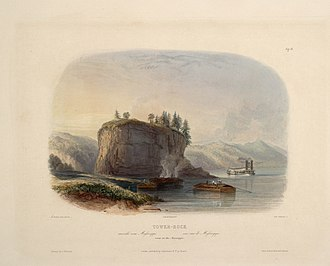 """Tower Rock - Tower-Rock, view on the Mississippi (circa 1832): aquatint by Karl Bodmer from the book """"Maximilian, Prince of Wied's Travels in the Interior of North America, during the years 1832–1834"""""""