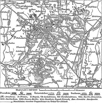 Battle of Königgrätz - Historical map of the battle