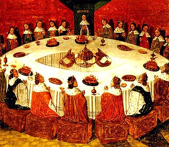 Round Table - Evrard d'Espinques's painting of King Arthur presiding at the Round Table with his Knights (1470)