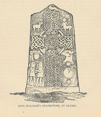 "Malcolm II of Scotland - 19th-century engraving of ""King Malcolm's grave stone"" (Glamis no. 2) at Glamis"