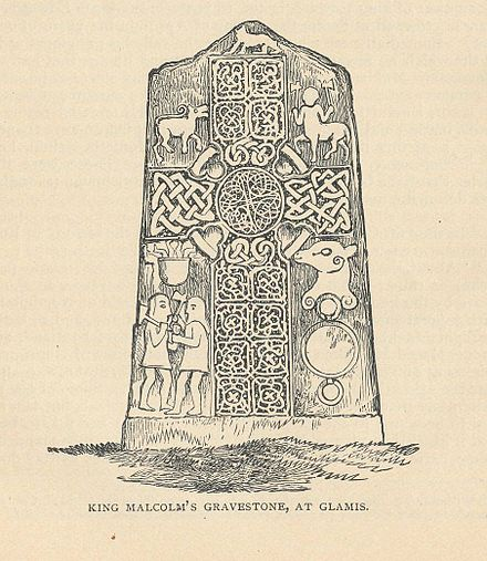 "19th-century engraving of ""King Malcolm's grave stone"" (Glamis no. 2) at Glamis King Malcolms Gravestone at Glamis.jpg"