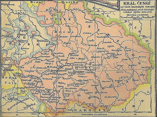The Lands of the Bohemian Crown during the Hussite Wars. The movement began in Prague and quickly spread south and then through the rest of the Kingdom of Bohemia. Eventually, it expanded into the remaining domains of the Bohemian Crown as well. Kingdom of Bohemia during the Hussite Wars.jpg