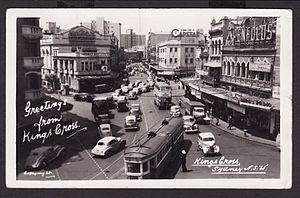 Kings Cross, New South Wales - Trams and trolley buses pass through Kings Cross intersection in the 1950s