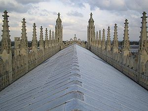 Parapet - Elaborate parapets flank the roof of King's College Chapel, Cambridge.