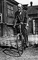 Konstantin Tsiolkovsky on a bicycle (by Feodosiy Chmil), 1934.jpg