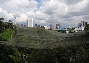 Kuala Lumpur Bird Park - Seen from the west towards the city centre