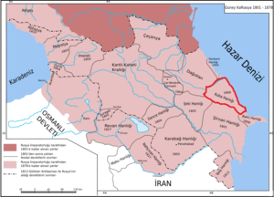 Quba Khanate - 1806 borders of Quba Khanate, after the migrations of 1805-1806, outlined in red
