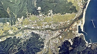 Kuji River (Iwate) - Image: Kuji city center area Aerial photograph.1977