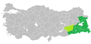 Turkish Kurdistan - Image: Kurdish speaking provinces in Turkey