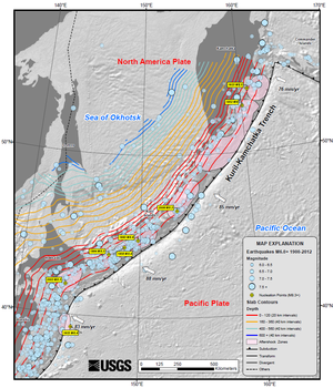 Kuril–Kamchatka Trench - Map of earthquake locations, showing depth contours on top of downgoing slab