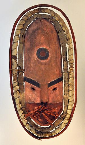 Kuskokwim Bay - Mask from Kuskokwim Bay (wood, fur, straw, feather, leaf)