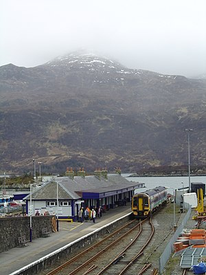 Kyle of Lochalsh line - A Class 158 at Kyle of Lochalsh, the Isle of Skye can be seen across the water.