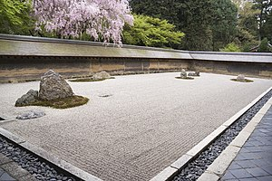 Japanese rock garden - Ryōan-ji (late 15th century) in Kyoto, Japan, a famous example of a zen garden