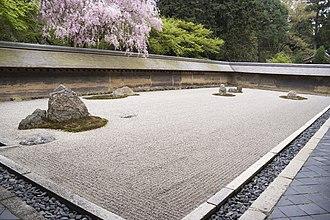 Ryōan-ji - The kare-sansui (dry landscape) zen garden at Ryōan-ji