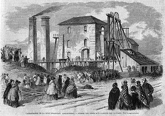 Hartley Colliery disaster - Hartley Colliery Disaster, the dead are brought up to their families (L'llustration, 1862, p 101)