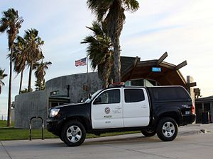 Los Angeles Police Department resources - A truck belonging to the LAPD parked at Venice Beach.