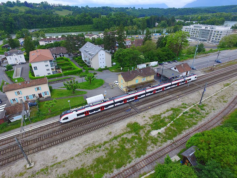 La Plaine train station, aerial view