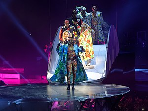 """Applause (Lady Gaga song) - Gaga performing """"Applause"""" during the Joanne World Tour"""