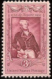 A U.S. Postage Stamp commemorating Lafayette.
