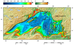 Lake Superior Bathymetric Map The Deepest Point Roughly Off Its Southeastern S Is Marked With Deep Trenches In Eastern Part May Have