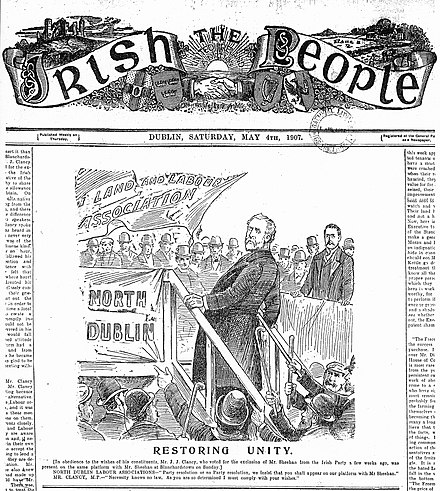 Sheehan MP (r), 1907, commanding the platform at a North County Dublin Land and Labour meeting. For full text click icon. Land and Labour Call for Unity.jpg