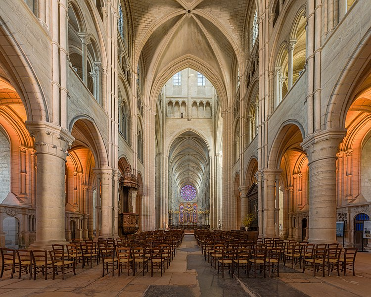 Laon Cathedral as viewed from the middle of nave in Picardie, France.
