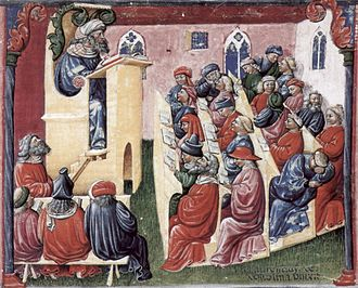 Lecture - A lecture at the University of Bologna in Italy in the mid-fourteenth century. The lecturer reads from a text on the lectern while students in the back sleep.