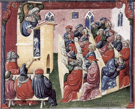 14th-century image of a university lecture Laurentius de Voltolina 001.jpg