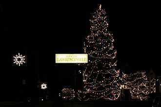 Lawrenceville, Illinois - The city of Lawrenceville lights a tree up for Christmas