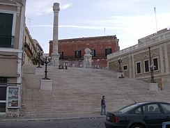 The Roman column marking the end of the ancient Via Appia in Brindisi.