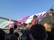 Airbus A320-200 boarding at Aurel Vlaicu International Airport, (Baneasa) Bucharest before departing for London Luton Airport.
