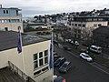 Leirvik, Stord, Norway, seen from Grand Hotell. Harbour, Samson på Kaien, Sjøhuset, Oma Slipp, Bytunet, cars in Osen, etc. 2018-03-09 b.jpg
