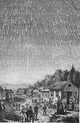 A sky full of shooting stars over a village