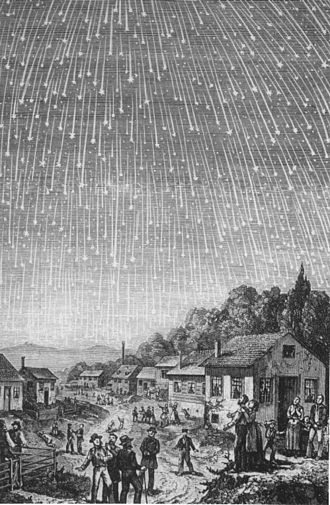 Seventh-day Adventist eschatology - A famous depiction of the 1833 meteor storm, produced in 1889 for the Seventh-day Adventist book Bible Readings for the Home Circle